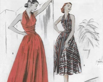 Butterick 4919 Misses Flared Halter Dress in Evening Floor Length or Knee Length Size 14 to 20 Bust 36 to 40