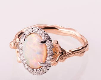 Twig Opal Engagement Ring, Opal engagement ring, Unique Engagement ring, Opal ring, Diamond Opal Ring, Twig Opal Ring, two tone Opal Ring