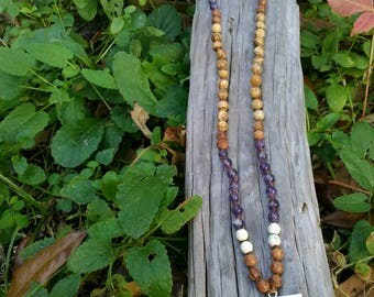 Picture Jasper, Bayong Wood, Magnesite and Amethyst Mala