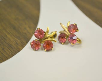 1940s AM Co. Pink Rhinestone 12K GF Screw Back Earrings