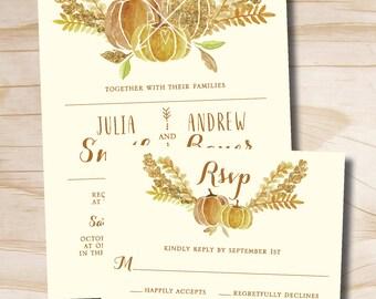 Watercolor Fall Glitter Pumpkin Leaves Fall Wedding Invitation and Response Card Invitation Suite