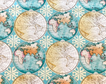 END OF BOLT 28 inches long of World fabric, world travel fabric 100% cotton for Quilting and general sewing projects.