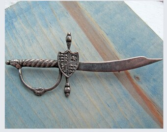 BIG Vintage Sterling Sword and Shield Pin Brooch Cosplay Military