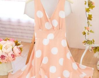 Small size SALE Beige dress Navy dress Polka dot dress Beige party dress spring summer sundress Beige bridesmaid dress Navy white dresses