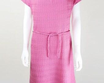 Original 1960s Vintage Candy Pink Knit Shift Dress UK Size 14/16