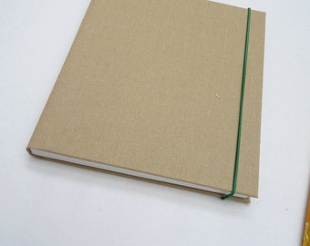Small notebook, little journal, book cloth, full cloth, beige, elastic