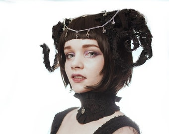 """Hand Crafted """"Decomposing Ram Horns"""" embellished with lace,chain and charms. made in any colour/combination colour. Opulent Gothic Fashion"""