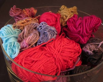 Destash Yarn Lots of Color - Colors Include reds, burgundy, blue and more - Various Weights and fibers -