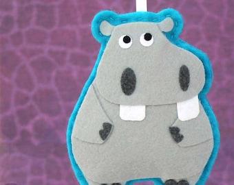 Hippopotamus, Felt Animal Christmas Tree Ornament - Beauregard the Hippo