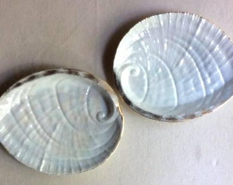 Pair of French Antique Porcelain Oyster /Seafood Serving Dishes-Oyster Plates-White Kitchen-Beacvh House Decor