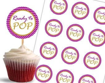 Ready to Pop Cupcake Toppers Printable Cupcake Toppers Baby Shower Party, Tags, Labels, Gold and Purple - Instant Download - DP517