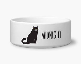 personalize cat bowl black cat food bowl custom name ceramic dishwasher