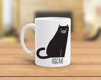 Custom cat mug, Black cat personalize coffee mug, Black cat gift