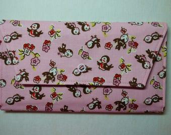 Retro Bird & Flowers Fabric Wallet