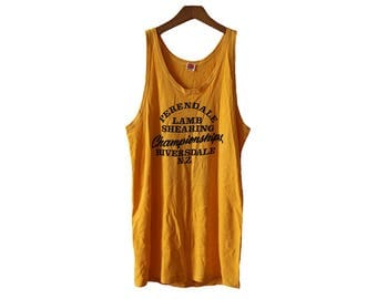 Vintage 1950's-1960's New Zealand Perendale Lamb Shearing Championships Tank Top Yellow Size