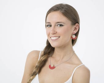 Set jewelry Earring and Necklace, Modern necklace pendant, Dangle fashion earrings, Red white jewelry set, Wooden jewelry, Gift for her