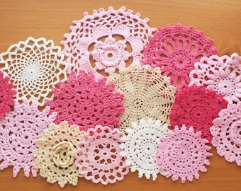 Pink, White, and Beige Doilies, Set of 14 Vintage Hand Dyed Crocheted Doilies, 2.5 to 5 inch Crochet Doilies for Crafts, Crocheted Mandalas