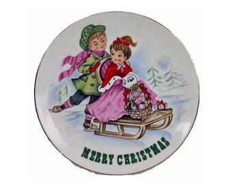 Vintage Lefton Merry Christmas Collector Plate Number 8102 Ice Skating Sledding Children Porcelain Plate