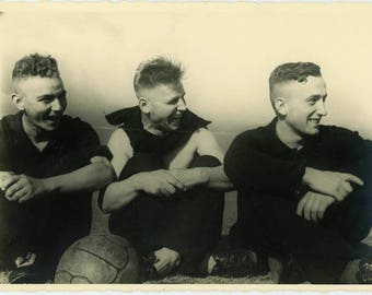 "Vintage Photo ""The Athletic Laughing Boys"" Vernacular Found Old Handsome Men Man Sports Ball Candid  Paper Ephemera Photograph Picture - 49"