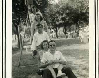 "Vintage Photo ""Old Friends"" Snapshot Antique Black & White Photograph Found Paper Ephemera Vernacular Interior Design Mood - 127"