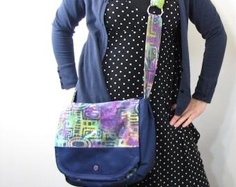 Patchwork Purple Batik Messenger Bag
