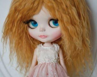Golden Blonde Tibetan Mohair Wavy Wig for Blythe (Non-Elastic Size)