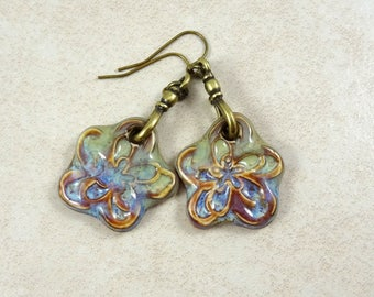 Lightweight Glazed Ceramic Flower Earrings, Green and Blue Glazed Ceramic Earrings, Artisan Boho Rustic Elegance, Green and Blue Earrings