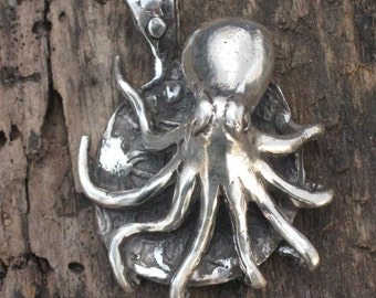 Sterling SIlver Octopus on a Pirate Dablune. Pirate Jewelry. Fisherman Jewelry.Divers Jewelry.Navel Jewelry.Ocean Jewelry.Beach Jewelry.