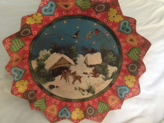 Vintage Pressed Paper Plate, Mid Century Christmas Cardboard Bowl, Paper Cookie Plate With Deer, Made in Germany,
