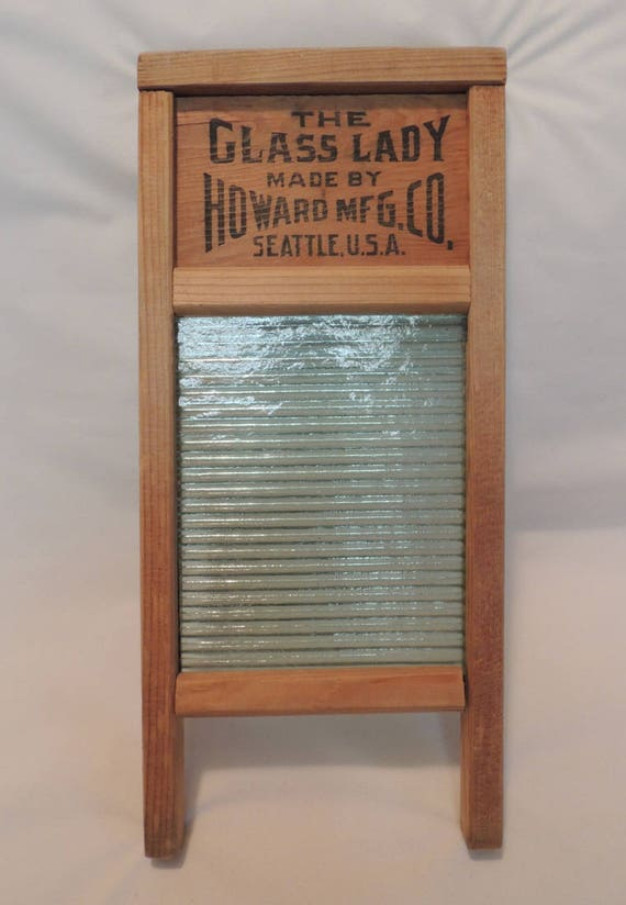 Vintage Small Glass Washboard.. THE GLASS LADY.. Howard Mfg Co Seattle U.S.A.