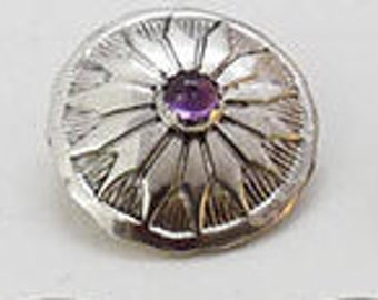 """Amethyst Button set in Sterling Silver 1"""""""