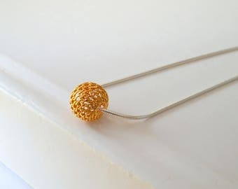 Silver filigree Bead pendant, Gold Plated Ball on Silver Necklace // gifts for her //  10 mm filigree bead // silver lattice bead