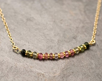 Multi-Colored Tourmaline Necklace - Bar Necklace - October Birthstone Necklace - Beaded Choker - Wire wrapped Necklace - Minimalist Jewelry