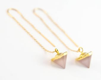 Rose Quartz Earrings, Dainty Gold Ear Threaders, Gemstone Threaders, Trending Jewelry, Spike Earrings, Bridesmaid Gift, Boho Gift for Her