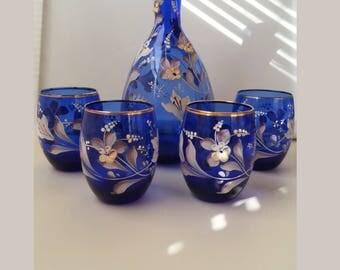 Murano Italian Colbalt Blue Decanter and Glass Set Handpainted