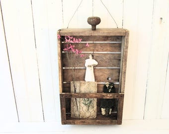 Vintage Wood Box Wall Shadowbox - Wire Hanger - Rusty Hardware - Chicken Wire