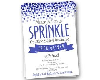Baby Boy Sprinkle Invitations - Baby Boy Sprinkle Invitation - Turquoise Baby Shower Invitation