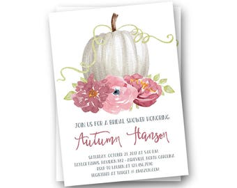 Fall Bridal Shower Invitations, Fall Floral Bridal Shower Invitations, Rustic Fall Bridal Shower Invitations