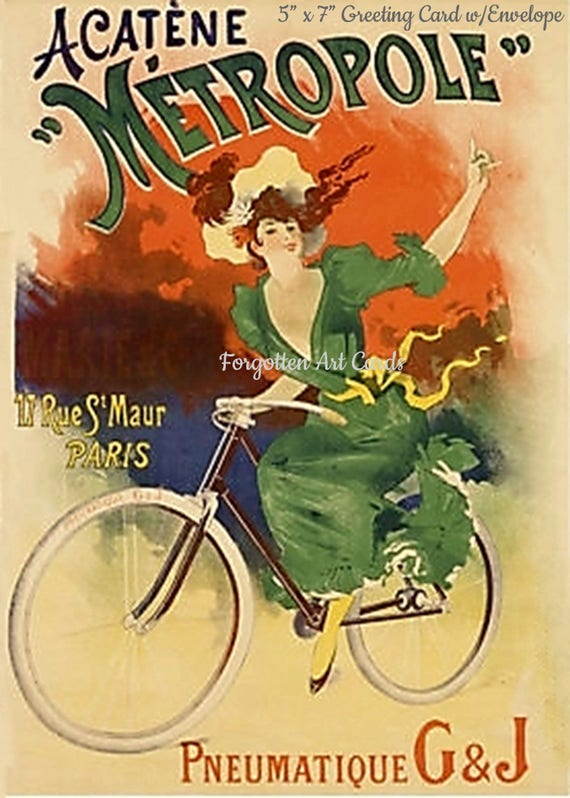 """Vintage French Bicycle Ad 5""""x7"""" Greeting Card + Envelope Orange Green Dress Forgotten Art Card Pretty Girl Postcards Free Ship in USA"""