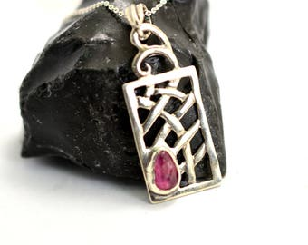 Raw ruby pendant in sterling silver, ruby gemstone necklace, purplish pink ruby rough stone, artisan necklace, Ruby jewelry, july birthstone