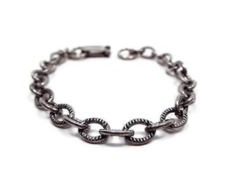 Vintage Chain Bracelet Antiqued Silver Tone Textured Link Snap Lock Clasp Retro 1970s 70s