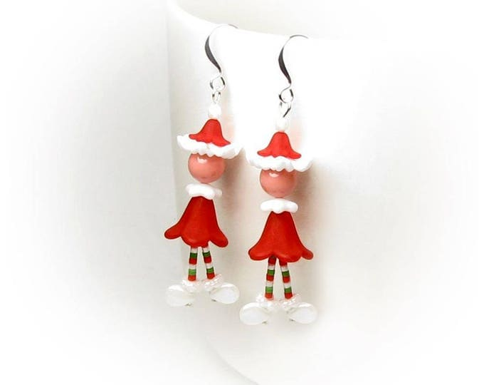 Christmas Santa Claus Earrings Holiday Elf Jewelry Red Hat White Winter Boots Green Stripe Socks Cute Little Elves Office Party Gifts Women