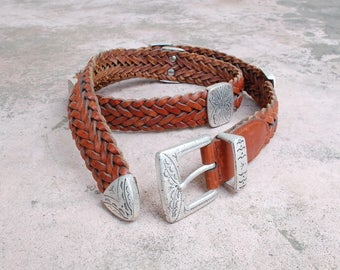 Vintage Womens Medium Ann Taylor Boho Belt Brown Leather Woven Native Aztec Boho Hippie Mexican Natural Gypsy Braided Concho Belt Beach