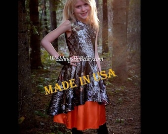"""Camo Flowergirl dress with heart back cut out """"Angie'"""