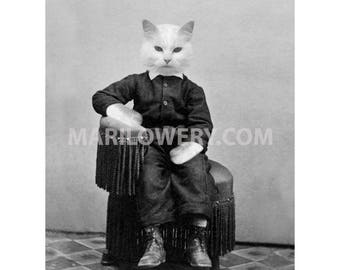 Cat Art Print Black and White Mixed Media Collage, Animal in Clothes Anthropomorphic 8.5 x 11 Inch Cat Wall Decor, frighten