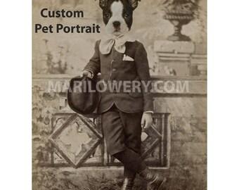 Custom Pet Portrait, Custom Dog Art, Cat Art, Pet Loss Gift, 8.5 x 11 Inch Print, Animal in Suit Art Made with Your Pet's Photo