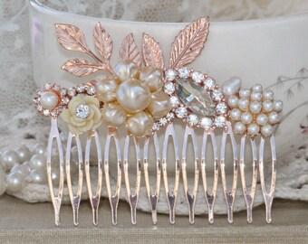BRIDAL Rose Gold & Genuine Pearl Hair Comb,Large Rose Gold Comb,Ivory Pearl,Clear Crystal Rhinestone,Bridal Headpiece,Weddings,Woodland,OOAK
