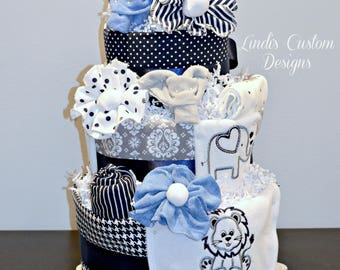 Boy Safari Diaper Cake, Blue Gray Baby Boy Diaper Cake, Elephant Giraffe Lion Safari Diaper Cake, Shower Cake Centerpiece, Navy Blue Gray