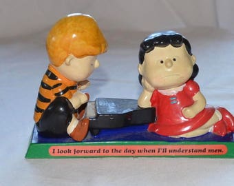 "Peanuts Determined Productions Lucy and Scroeder Piano 1971 ""I look forward to the day when I'll understand men"""