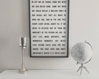 In life we do things, inspirational quote, 24x36, Framed Wood Sign